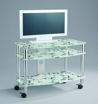 Mobile 3-Tier Flower Printed Glass TV Stand