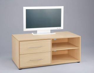 2-Shelf Wooden TV Cabinet with Drawers